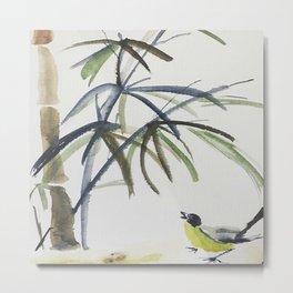 Bambus Bird Watercolor Metal Print