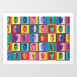 mascaras de luchadores II Art Print