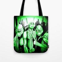 ninja turtles Tote Bags featuring  Ninja Turtles by shannon's art space