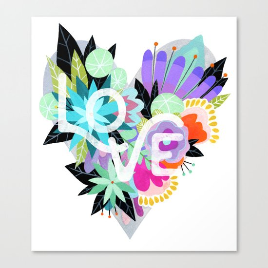 Love Blooms - Rainbow Canvas Print