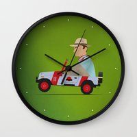 jurassic park Wall Clocks featuring Jurassic Park by DWatson