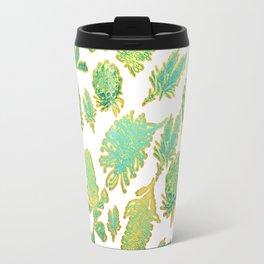 Green and gold australian native floral print Travel Mug