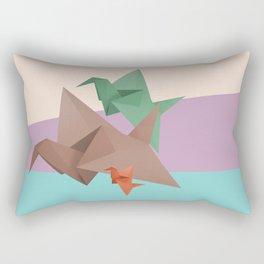 PAPER CRANES (Origami abstract birds animals nature) Rectangular Pillow
