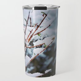 Early spring leaves covered by snow Travel Mug