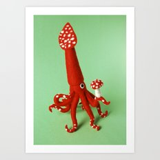 Mushroom Squid Art Print