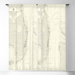 Vintage Map Print - Admiralty Chart No 2866 Cape Kennedy to Key West, 1961 Blackout Curtain