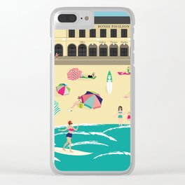 Bondi Beach Vintage Style Art Print Clear iPhone Case
