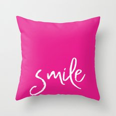Smile- Funny Typography on simple pink background texture on #society6 Throw Pillow