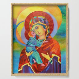 Virgin Mary Painting Madonna and Child Jesus icon Modern Catholic Religious Serving Tray