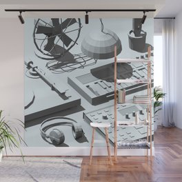 Low Poly Studio Objects 3D Illustration Grey Wall Mural
