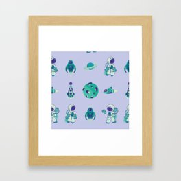 Outer Space Pattern Astronauts Rocket Ship Space Ship Purple Turquoise Framed Art Print