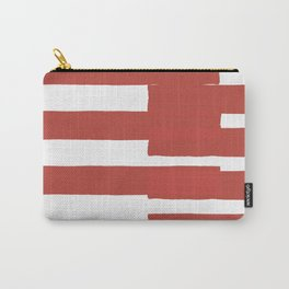 Big Stripes In Red Carry-All Pouch