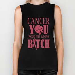 cancer you picked the wrong bitch cancer trucker Biker Tank