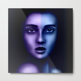 Two sides of a woman. Digital portrait of a beautiful young girl in shades of purple and blue Metal Print