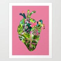 Botanical Heart Pink Art Print