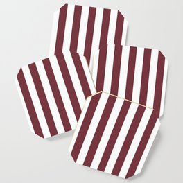 Puce red purple - solid color - white vertical lines pattern Coaster