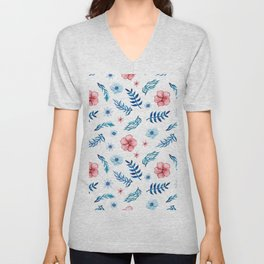 Hand painted pink blue teal watercolor floral leaves pattern Unisex V-Neck