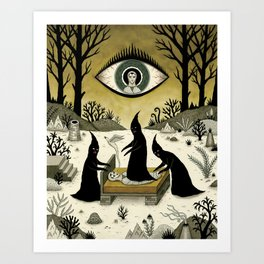 Three Shadow People Terrify a Victim During an Episode of Sleep Paralysis Art Print