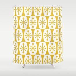 Mid Century Modern Atomic Fusion Pattern Mustard Yellow Shower Curtain