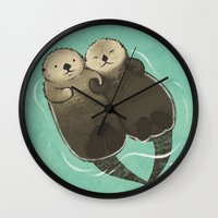 otters Wall Clocks featuring Significant Otters - Otters Holding Hands by StudioMarimo
