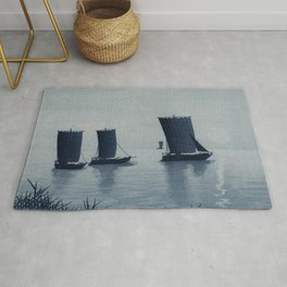 Fishing Boats Departing Traditional Japanese Landscape Rug