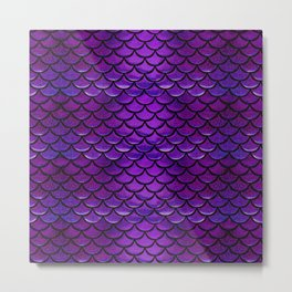 Purple & Blue Mermaid Scales Metal Print