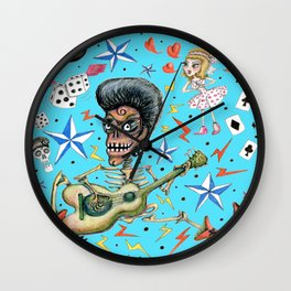 rockabilly bone daddy crush, blue turquoise aqua Wall Clock