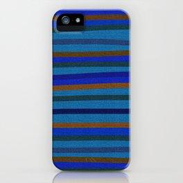 Denim Stripes in Blue, Tan, Cyan & Chocolate iPhone Case