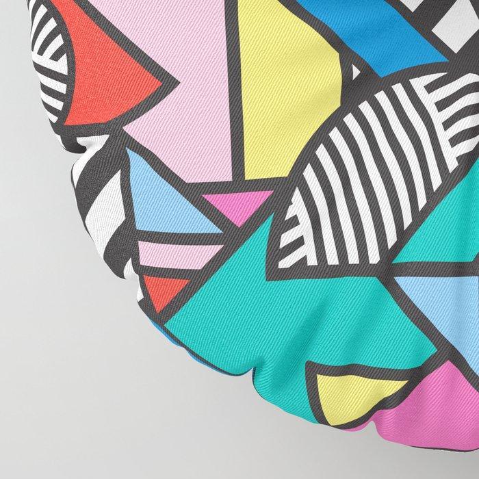 Colorful Memphis Modern Geometric Shapes - Tribal Kente African Aztec Floor Pillow