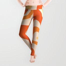 Tangerine Liquid Swirl Retro Abstract Pattern Leggings