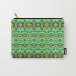 Vintage Psychedelic Kitsch Pattern Green Carry-All Pouch