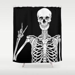 Human skeleton posing isolated over black background vector illustration Shower Curtain