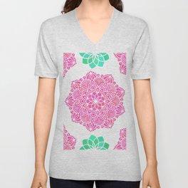 pink mandala pattern Unisex V-Neck