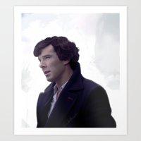 sherlock holmes Art Prints featuring Sherlock Holmes by LindaMarieAnson