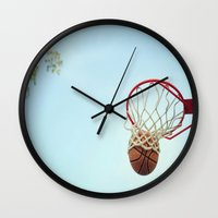 basketball Wall Clocks featuring Basketball by KimberosePhotography