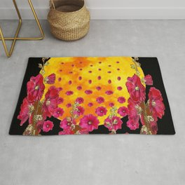 SURREAL HOLLYHOCKS RISING GOLDEN MOON PATTERN Rug