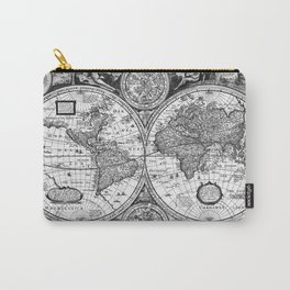 Black and White World Map (1651) Carry-All Pouch