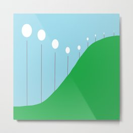 Abstract Landscape - Lights on the Hill Metal Print