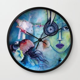 Waterworld: Blue Wall Clock