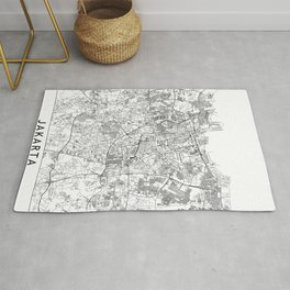 Jakarta White Map Rug