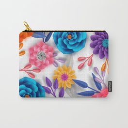 Paper floral anemone seamless pattern. 3d origami Carry-All Pouch