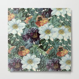 Dahlia Flowers Pattern Metal Print