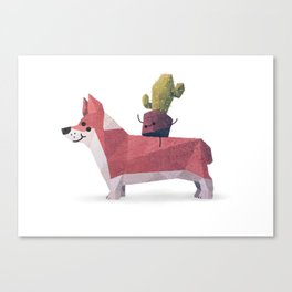 Cactus on Corgie Canvas Print