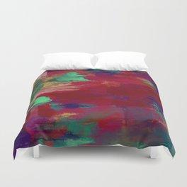 Crimson Overflow - Abstract, red, crimson, green, purple oil painting Duvet Cover