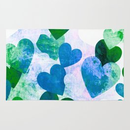 Fab Green & Blue Grungy Hearts Design Rug