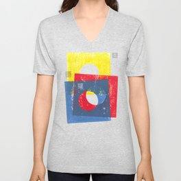 Basic in red, yellow and blue Unisex V-Neck