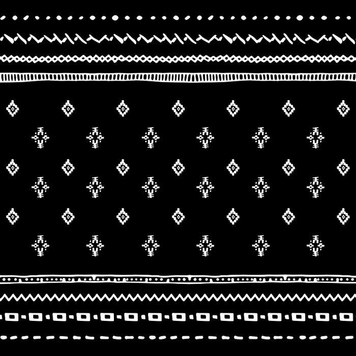 Rhombus & Lines White on Black Duvet Cover