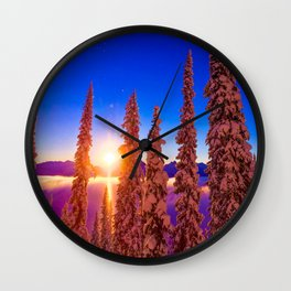 winter mountain sky forest gradient 0284 Wall Clock