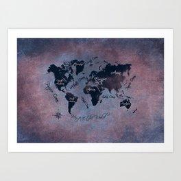 world map 141 red blue #worldmap #map Art Print