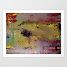 Yellow on Red Art Print